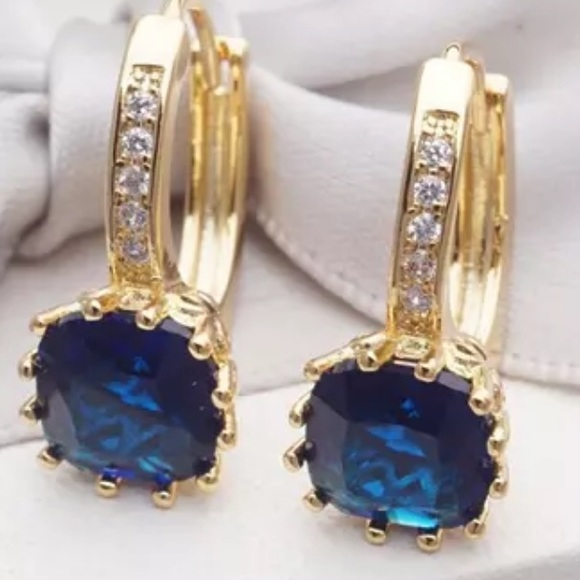 Sapphire lab created earrings